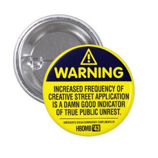 Warning 1 Inch Round Button