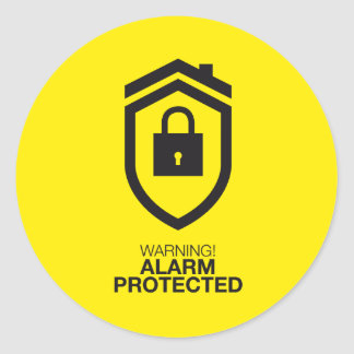 Warning! Alarm Protected Classic Round Sticker