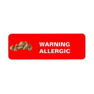 WARNING ALLERGIC LABEL