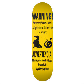 Warning Alligators and Snakes Skateboard