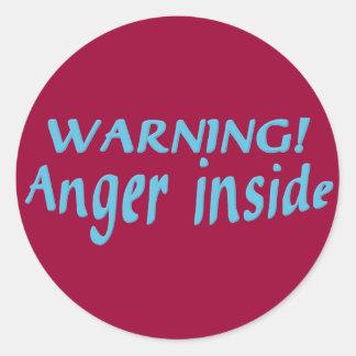 Warning Anger Inside Classic Round Sticker