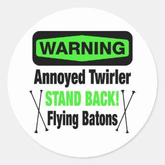 Warning Annoyed Twirler Green Classic Round Sticker