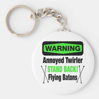 Warning Annoyed Twirler Green Keychain