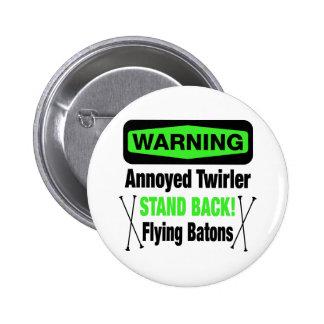Warning Annoyed Twirler Green Pinback Button