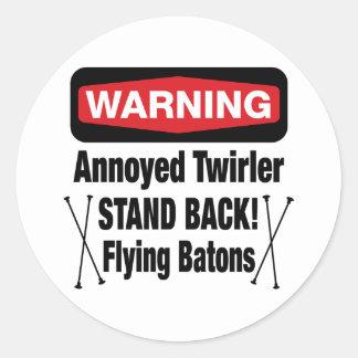 Warning Annoyed Twirler Red Classic Round Sticker