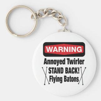 Warning Annoyed Twirler Red Keychain