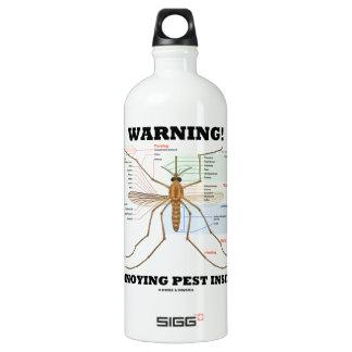 Warning! Annoying Pest Inside (Mosquito Anatomy) Aluminum Water Bottle