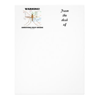 Warning! Annoying Pest Inside (Mosquito Anatomy) Personalized Letterhead