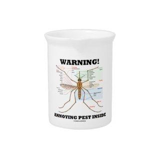 Warning! Annoying Pest Inside (Mosquito Anatomy) Beverage Pitchers