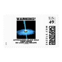 Warning! Approaching Black Hole No Light Escape Postage Stamps