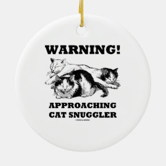 Warning! Approaching Cat Snuggler Three Cats Double-Sided Ceramic Round Christmas Ornament
