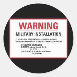Warning Area 51 Military Installation Classic Round Sticker