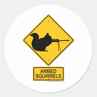 Warning Armed Squirrels Classic Round Sticker