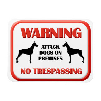 WARNING Attack Dogs Rectangular Photo Magnet