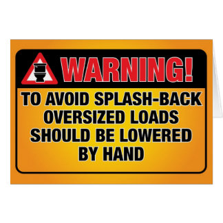 WARNING - Avoid Splash-Back Blank Inside Card