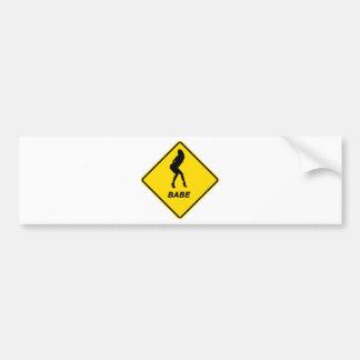 """""""Warning - Babe alert"""" design Bumper Sticker"""