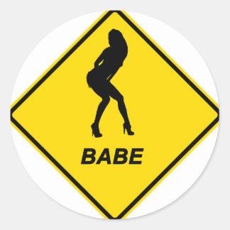 """""""Warning - Babe alert"""" design Classic Round Sticker"""