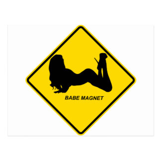 """Warning - Babe magnet"" design Postcard"