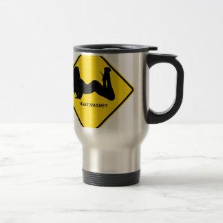 """""""Warning - Babe magnet"""" design Travel Mug"""