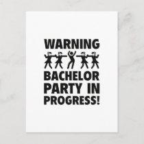 Warning Bachelor Party In Progress Invitation Postcard