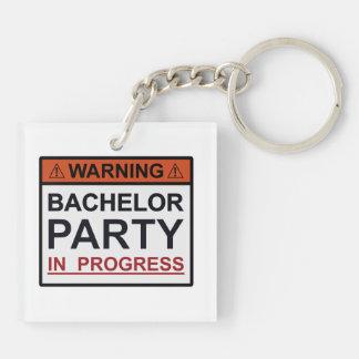 Warning Bachelor Party in Progress Keychain