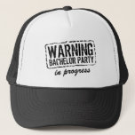 """WARNING BACHELOR PARTY IN PROGRESS trucker hats<br><div class=""""desc"""">WARNING BACHELOR PARTY IN PROGRESS trucker hat for soon te be married men. Funny attention grabbing caution sign wedding accessory for groom to be and friends. Make your humorous favor caps for groomsmen, best man, friend, brother, crew, groomsman team and other members. Cute custom props for wedding gags, bachelor pranks,...</div>"""