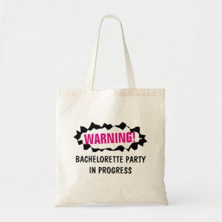WARNING BACHELORETTE PARTY IN PROGRESS tote bags