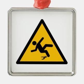 Warning Banana Peel Slippery Metal Ornament