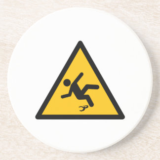 Warning Banana Peel Slippery Sandstone Coaster