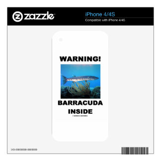 Warning Barracuda Inside Decal For iPhone 4S