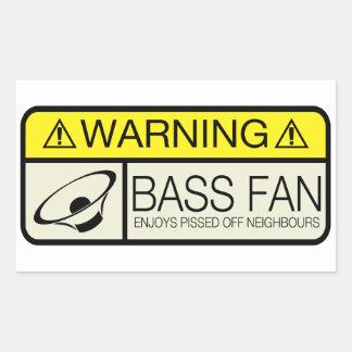 Warning Bass Fan! Rectangular Sticker