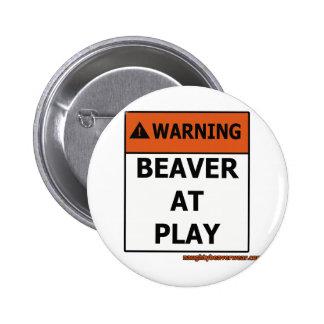 Warning Beaver At Play Pins