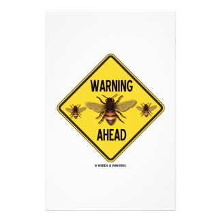 Warning Bees Ahead Three Bees Yellow Diamond Sign Stationery