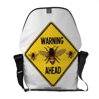 Warning Bees Ahead Yellow Diamond Warning Sign Messenger Bag
