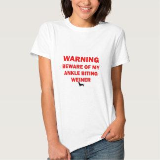 Warning Beware of Ankle Biting Weiner Dog T Shirt