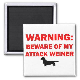 Warning Beware of Attack Weiner Dog 2 Inch Square Magnet