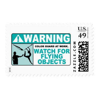 Warning- Beware of Flying Objects! Postage Stamps