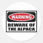 Warning BEWARE OF THE ALPACA Sticker