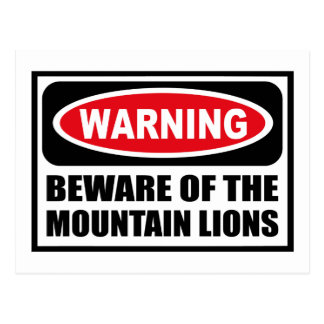Warning BEWARE OF THE MOUNTAIN LIONS Postcard