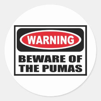 Warning BEWARE OF THE PUMAS Sticker