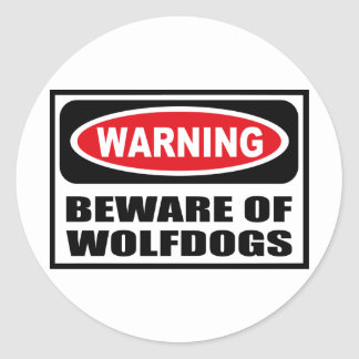 Warning BEWARE OF WOLFDOGS Sticker