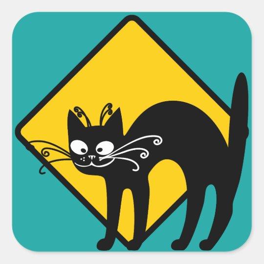 Warning Black Cat Crossing Ahead Square Sticker