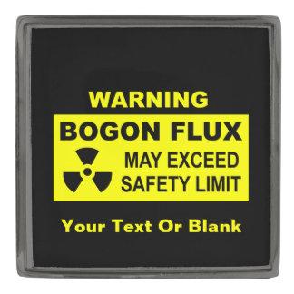 Warning: Bogon Flux Gunmetal Finish Lapel Pin
