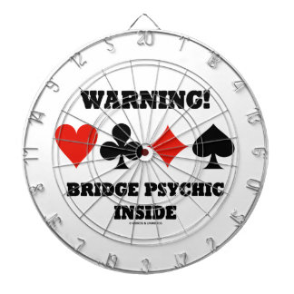 Warning! Bridge Psychic Inside (Four Card Suits) Dartboard With Darts