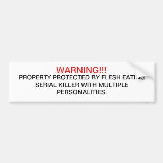 WARNING CAR BUMPER STICKER