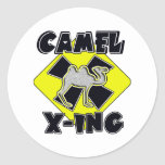 WARNING CAMEL CROSSING X-ING GIFTS FUNNY ZOO ROUND STICKERS