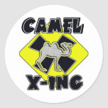 WARNING CAMEL CROSSING X-ING GIFTS FUNNY ZOO ROUND STICKER