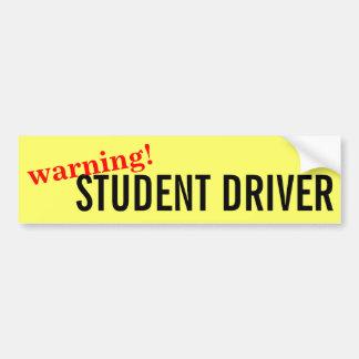 Warning Caution Student Driver Bumper Sticker