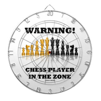 Warning! Chess Player In The Zone (Chess Set) Dartboard With Darts