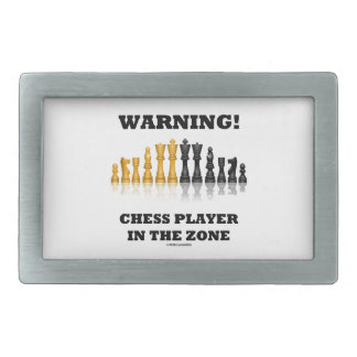 Warning! Chess Player In The Zone (Chess Set) Rectangular Belt Buckle